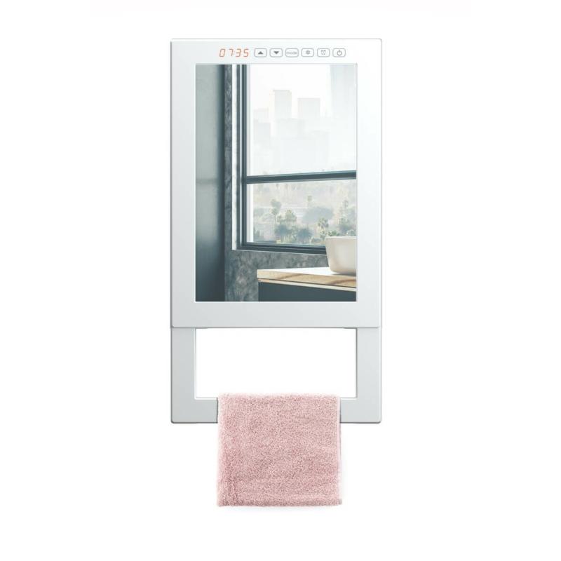 Radialight QUADRO VISIO fali fürdőszobai fűtő ventilátor törölköző tartóval és tükörrel (1800 Watt)